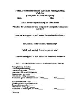 Reading Writing Workshop Formal Conference Form