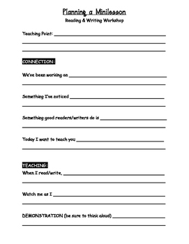 Reading Writing Workshop Minilesson Template
