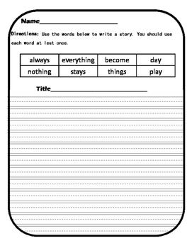 Reading/ Writing activities for Unit 3 Week 1 A Place to Play