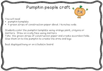 Reading, Writing and Calendar Craft October Freebie