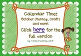 Reading, Writing and Calendar Craft October Freebie