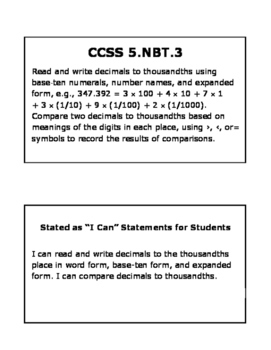 Reading, Writing, and Comparing Decimals