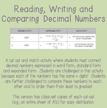 Read Write And Compare Decimals Teaching Resources Teachers Pay