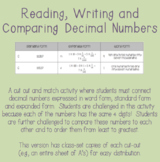 Reading, Writing and Comparing Decimals Activity