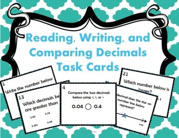 Decimals: Reading, Writing, and Comparing Decimals Task Cards { Math Center }