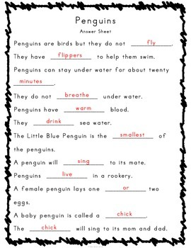 Reading, Writing and Comprehension Practice Information Text {Penguins}