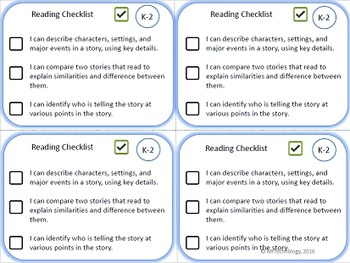 Reading, Writing, and Math Checklists for Kindergarten, 1st, and 2nd Grade