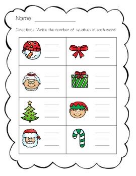 Christmas Literacy Printables for Kindergarten
