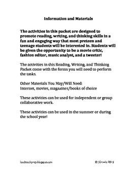 Reading Activities ~ Reading, Writing, Thinking Activities