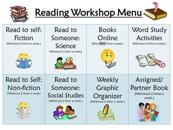 Reading Workshop Choice Card