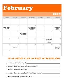 Reading a Calendar - Comprehension