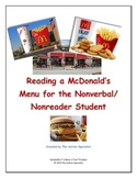 Reading a McDonald's Menu for the Nonverbal/Nonreader Student