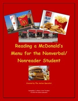 Reading a McDonald's Menu for the Nonverbal/Nonreader Student (Red Version)