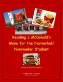 Reading a McDonald's Menu for the Nonverbal/Nonreader Stud