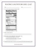 Reading a Nutrition Label Quiz