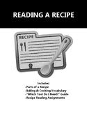 Recipe Reading Basics - Handouts, Vocabulary & Worksheets