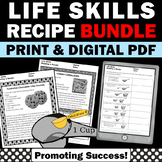 Reading a Recipe BUNDLE Life Skills Special Education Reading Distance Learning