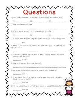 FREE: Reading a Recipe For Comprehension: Brownies