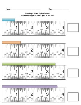 Reading a Ruler (half inches, quarter inches, and eighth inches)