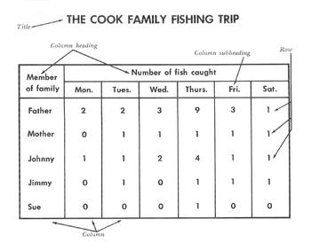 Reading a Table / Graphic Aid: The Cook Family Fishing Trip w/ 8 Read Comp Qs
