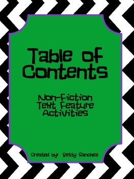 Reading a Table of Contents:  Non-Fiction Text Feature Activities