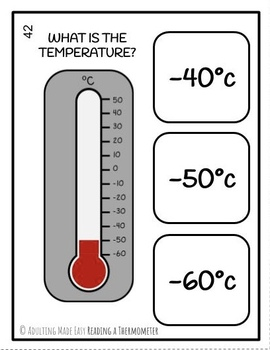 Reading a Thermometer Task Cards - Life Skills Special Education Temperature