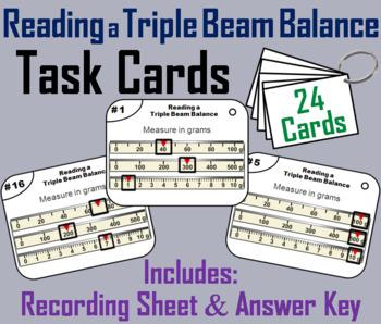 Reading a Triple Beam Balance Task Cards (Measuring Mass: Metric System)