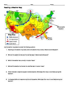 NGSS MS./HS. Weather and Climate: Reading a Weather Map Worksheet
