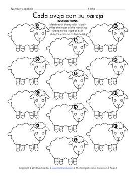 Reading activity: Cada oveja con su pareja matching activity