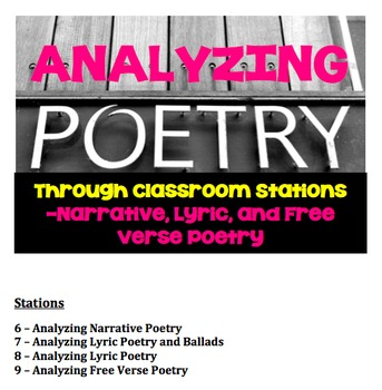 Reading and Analyzing Narrative, Lyric, and Free Verse Poetry Classroom Stations