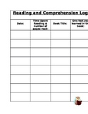 Reading and Comprehension Log