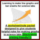 Reading and Creating Bar and Line graphs for Science - (Notes/Worksheet)