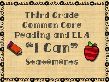 """Reading and ELA """"I Can"""" Statements (Common Core)"""