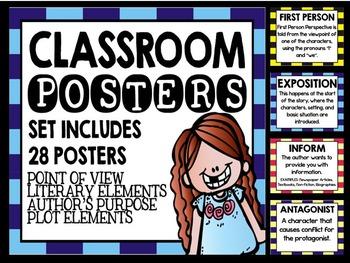 Reading and ELA Poster Bundle for Grades 4-8: HUGE Package!