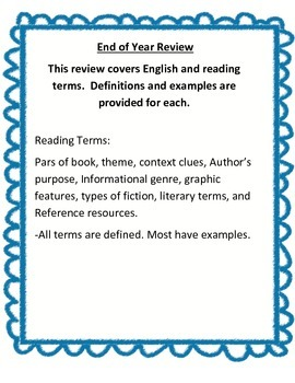 Reading and English grammar study guide and review