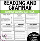 Reading and Grammar Pack - No Prep Printables