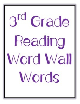 Reading and Language Arts Word Wall Words