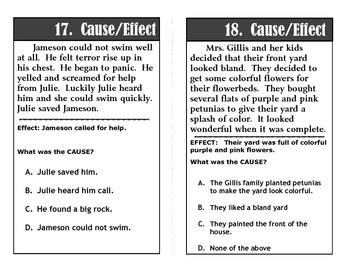 Reading and Language Test Prep Task Cards Set 2