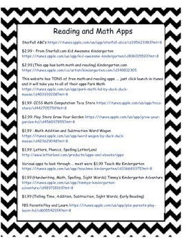 Reading and Math Apps handout for parents