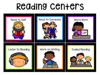 Reading and Math Center Rotation Cards (editable)