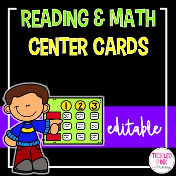 Reading and Math Center Rotation Cards (editable)