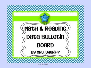 Reading and Math Data Bulletin Board - Blue Chevron with L