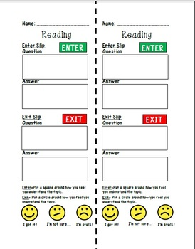 Reading and Math: Enter and Exit Slips (Formative Assessment Tool)
