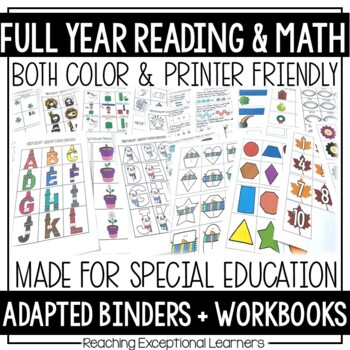 Reading and Math Full Year Binder Bundle for Special Education