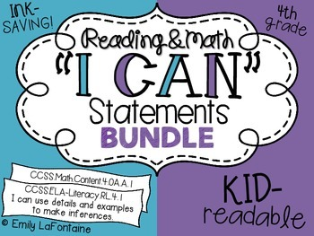 Fourth Grade I Can Statements BUNDLE (Reading and Math, Common Core)