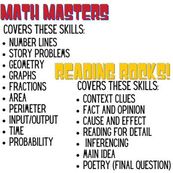 Reading / Math Review Game for State Testing or End of the Year Review