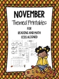 Reading and Math November Themed Third Grade Printables