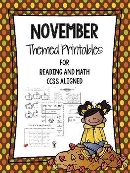 Reading and Math November Themed Third Grade Printables