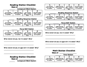 Reading and Math Station/Center Checklists