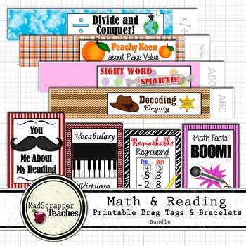Reading and Math Teacher Basic Skills Brag Tags and Printable Bracelets